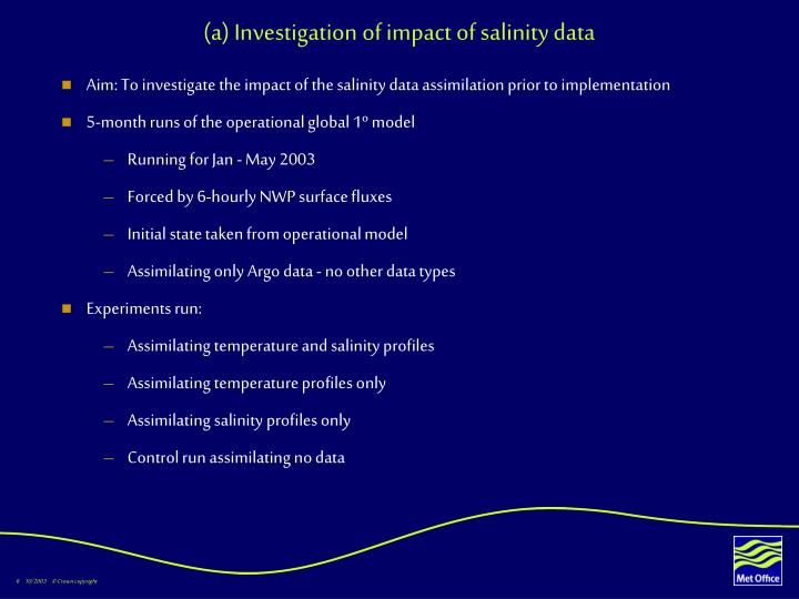 (a) Investigation of impact of salinity data