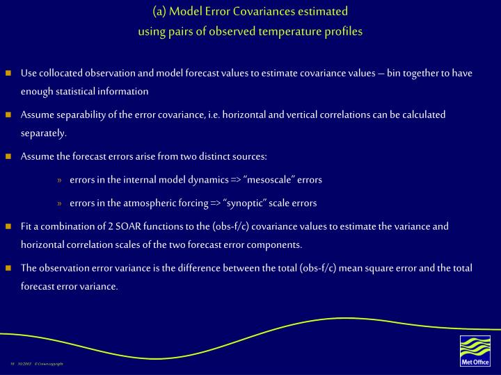(a) Model Error Covariances estimated
