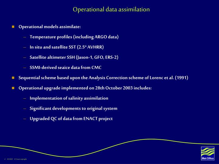 Operational data assimilation