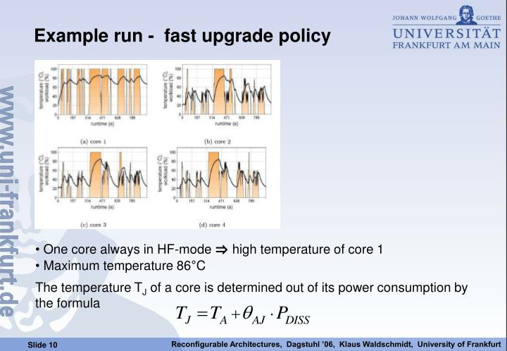 Example run -  fast upgrade policy