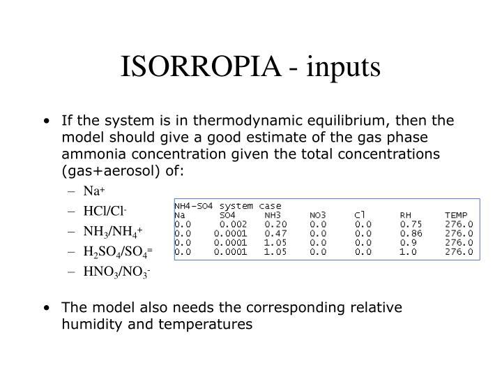 ISORROPIA - inputs