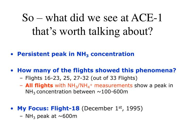 So what did we see at ace 1 that s worth talking about