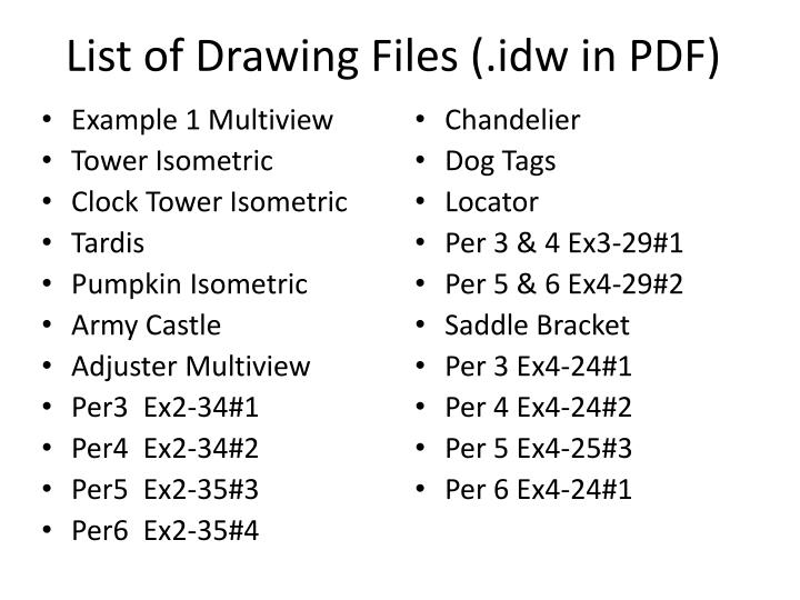 List of Drawing Files (.idw in PDF)