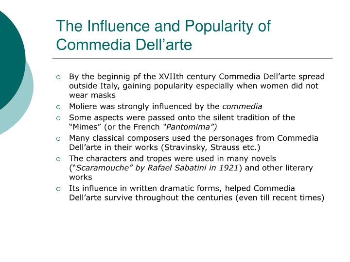 The Influence and Popularity of Commedia Dell'arte
