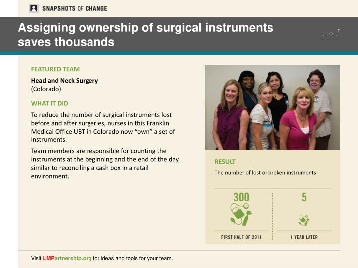 Assigning ownership of surgical instruments