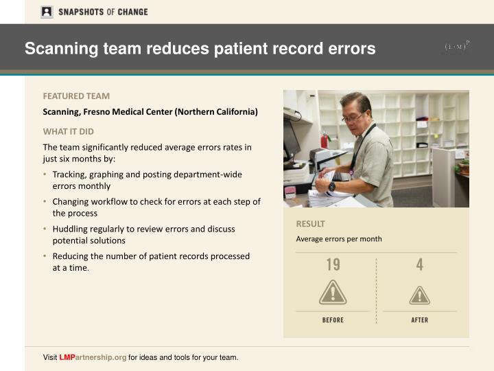 Scanning team reduces patient record errors
