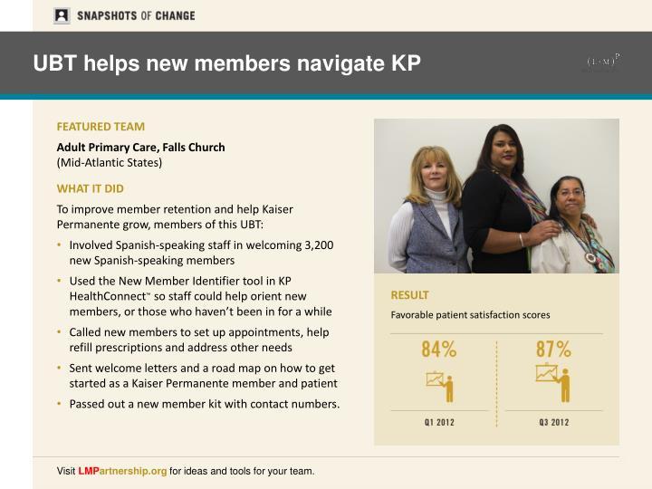 UBT helps new members navigate KP