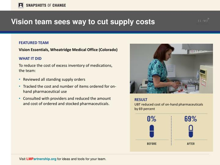 Vision team sees way to cut supply costs