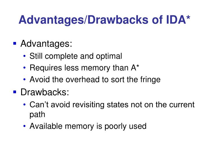 Advantages/Drawbacks of IDA*