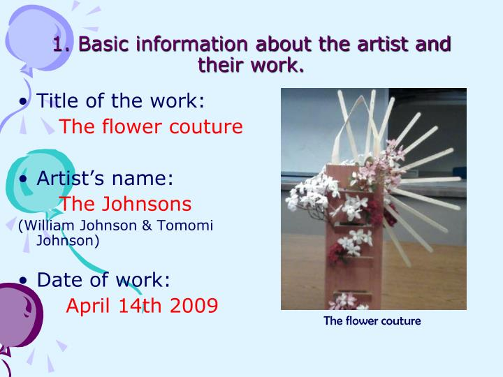 1 basic information about the artist and their work