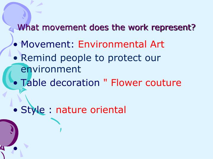 What movement does the work represent?
