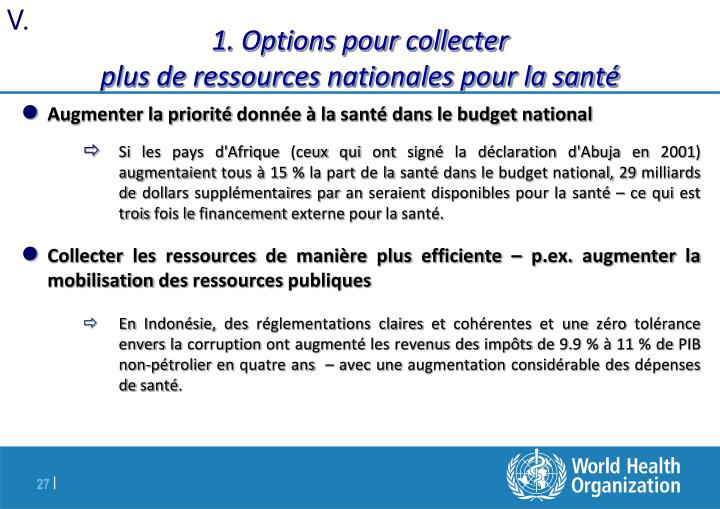1. Options pour collecter