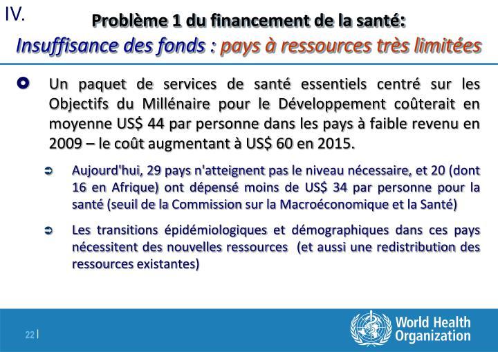 Problème 1 du financement de la santé