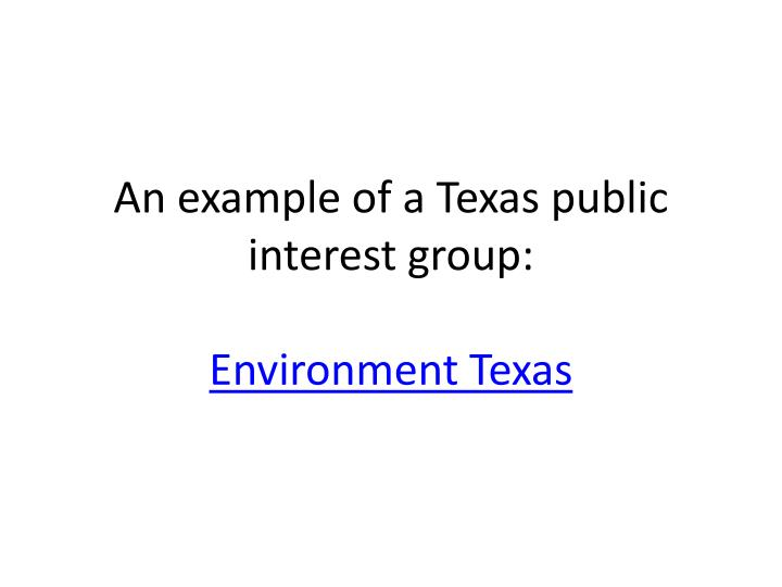 An example of a Texas public interest group: