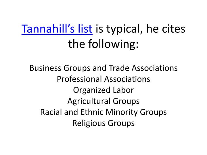 Tannahill's list