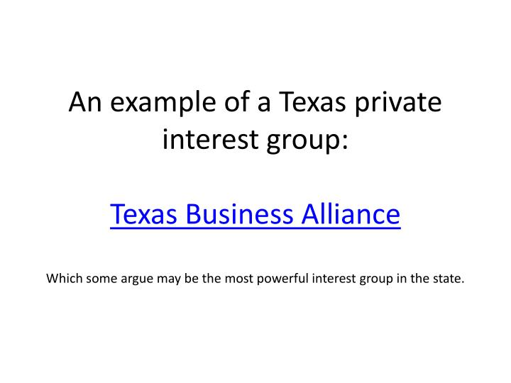 An example of a Texas private interest group: