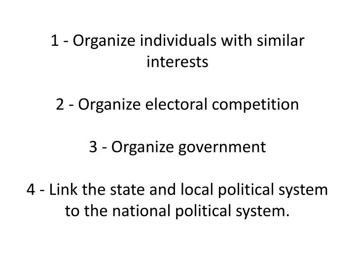 1 - Organize individuals with similar interests