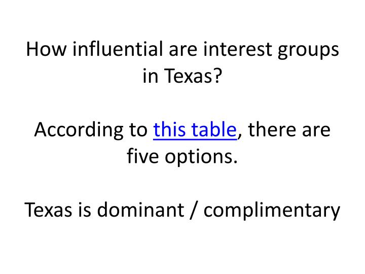 How influential are interest groups in Texas?