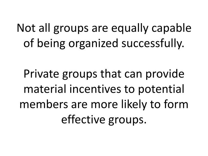 Not all groups are equally capable of being organized successfully.