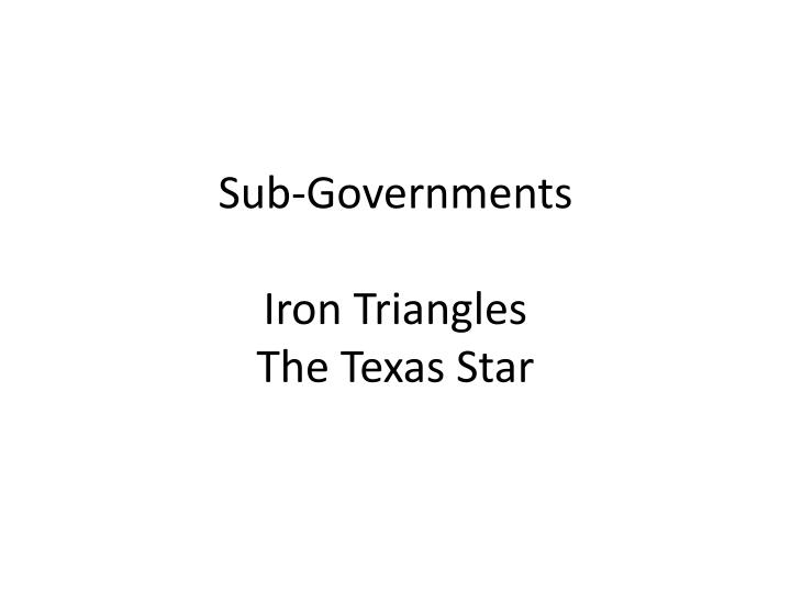 Sub-Governments