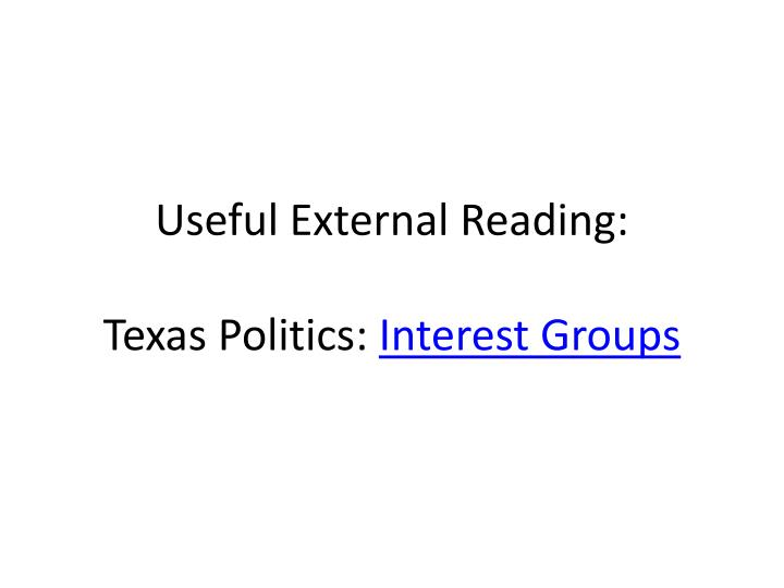 Useful External Reading:
