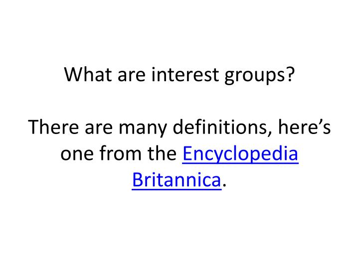 What are interest groups?
