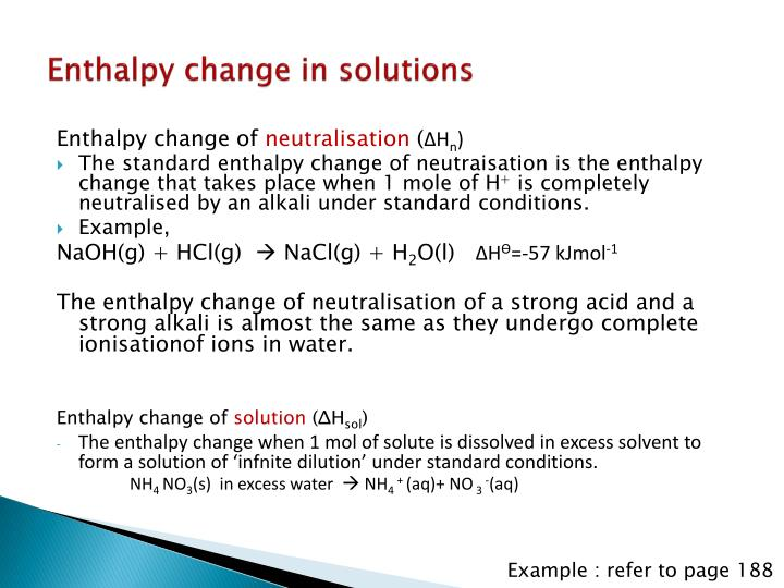 Enthalpy change in solutions