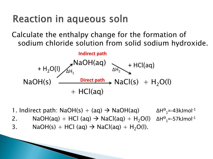 Reaction in aqueous soln