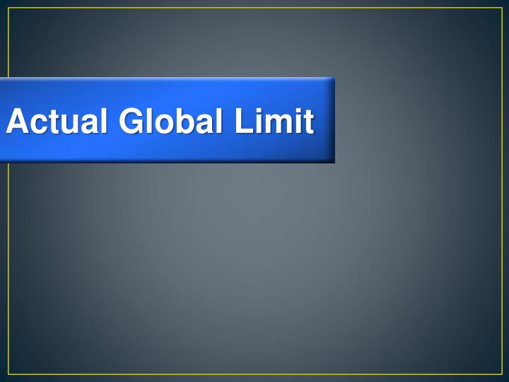 Actual Global Limit