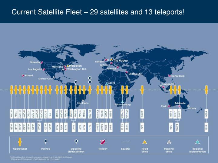 Current Satellite Fleet – 29 satellites and 13 teleports!