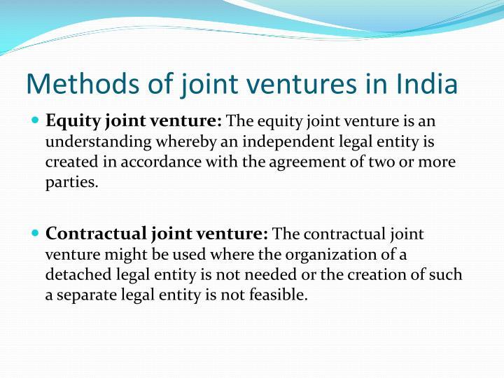 Methods of joint ventures in India
