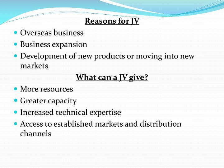 Reasons for JV