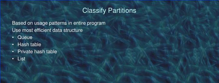 Classify Partitions