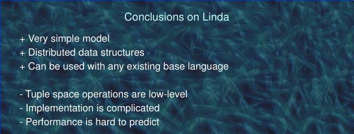 Conclusions on Linda