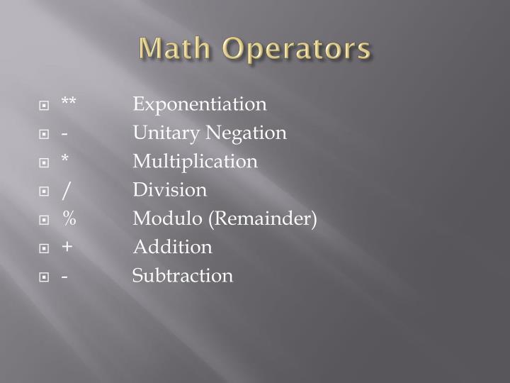 Math Operators