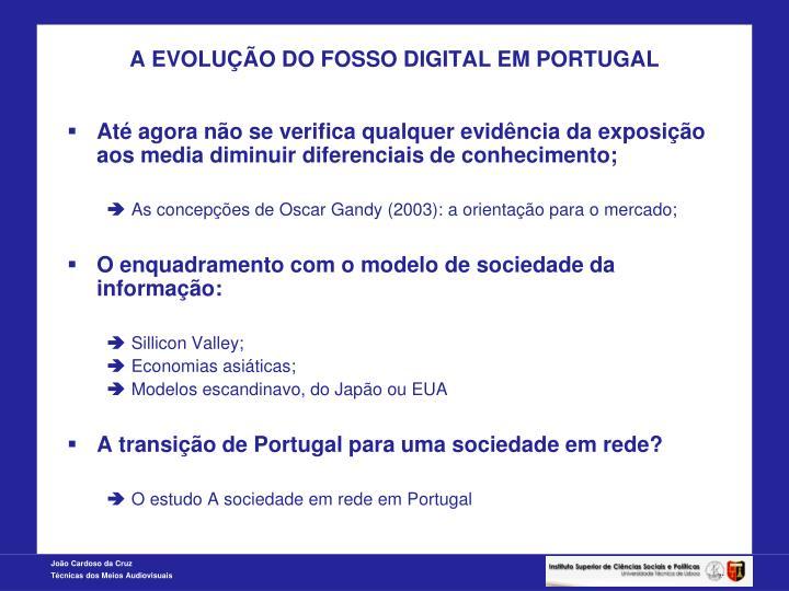 A EVOLUÇÃO DO FOSSO DIGITAL EM PORTUGAL