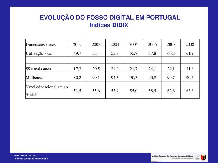 EVOLUÇÃO DO FOSSO DIGITAL EM PORTUGAL