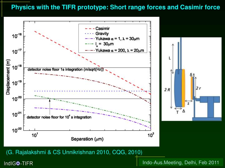 Physics with the TIFR prototype: Short range forces and Casimir force