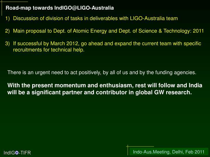 Road-map towards IndIGO@LIGO-Australia