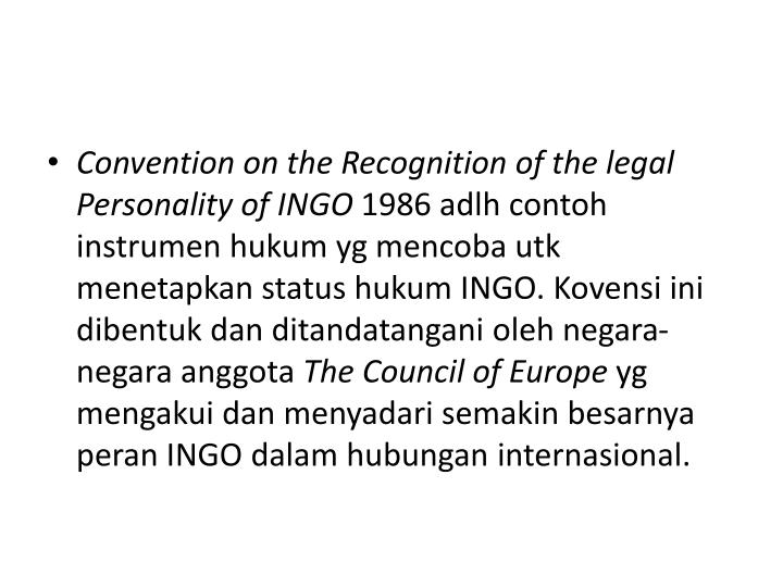 Convention on the Recognition of the legal Personality of INGO