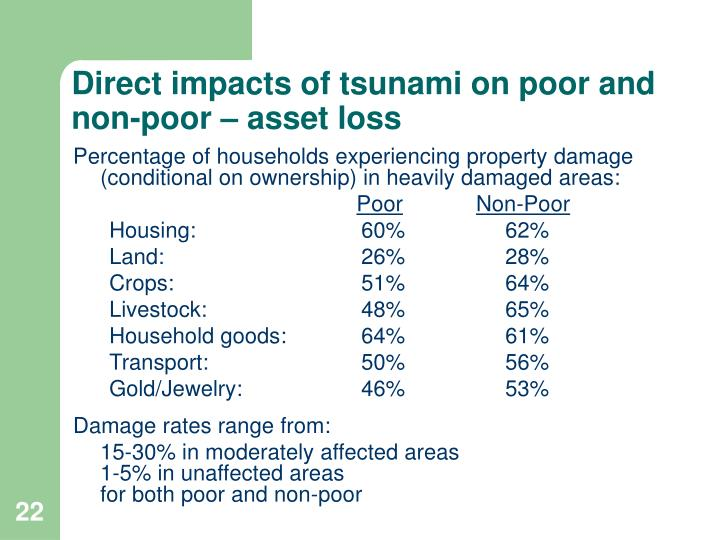 Direct impacts of tsunami on poor and non-poor – asset loss