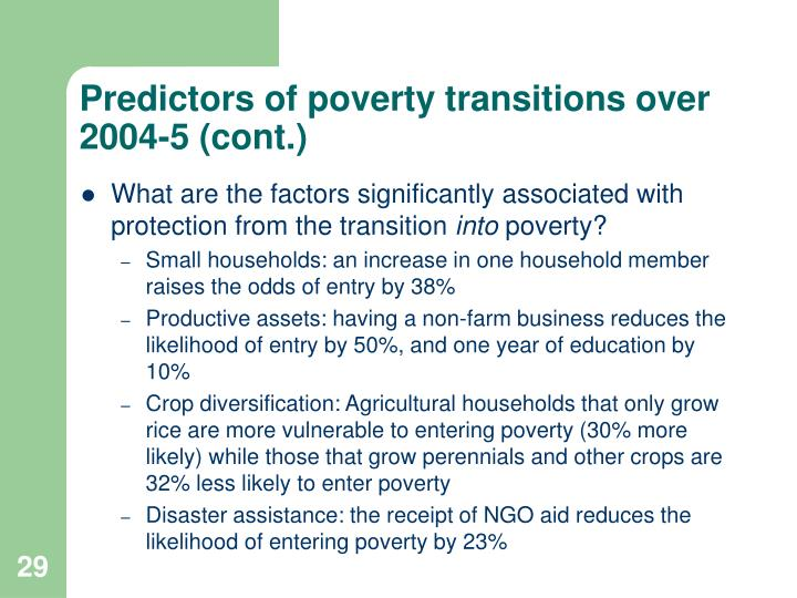 Predictors of poverty transitions over 2004-5 (cont.)
