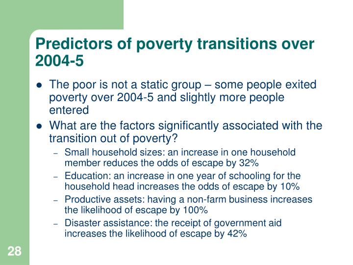 Predictors of poverty transitions over 2004-5
