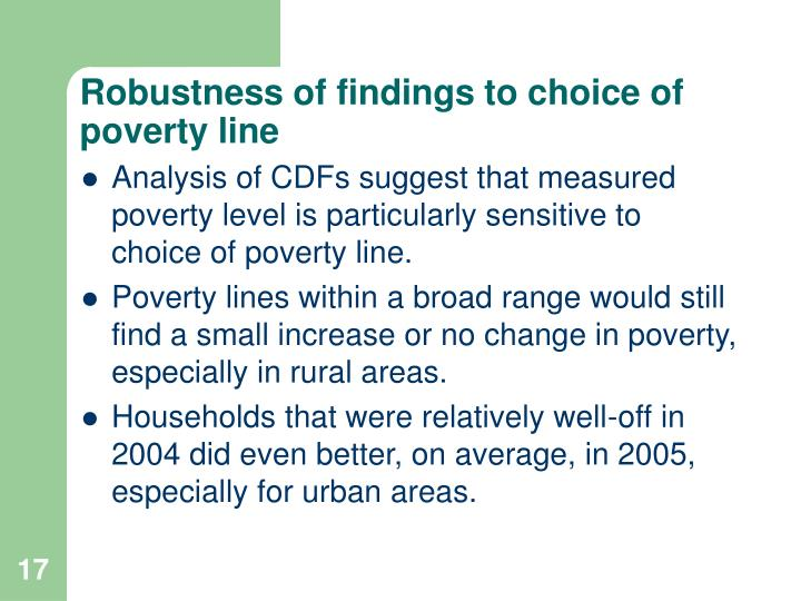 Robustness of findings to choice of poverty line