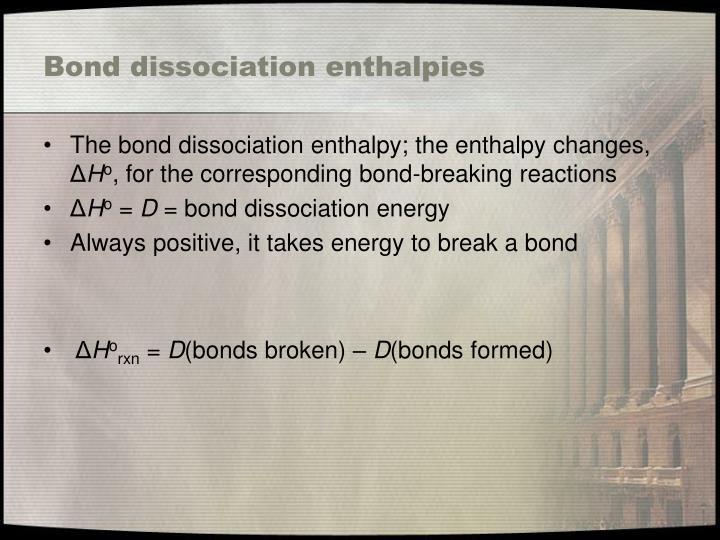 Bond dissociation enthalpies