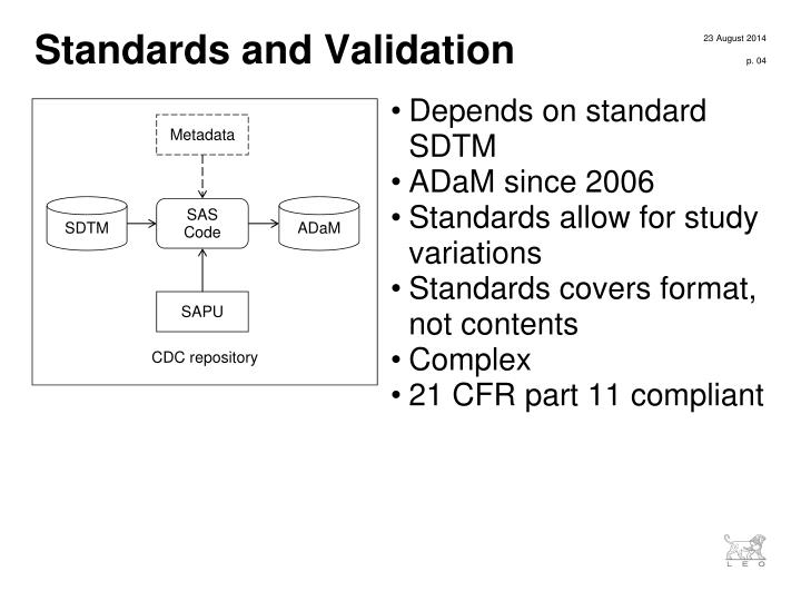 Standards and Validation