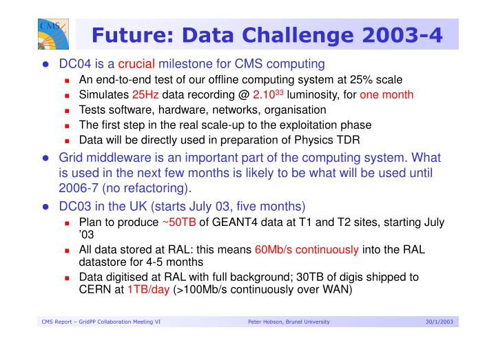 Future: Data Challenge 2003-4