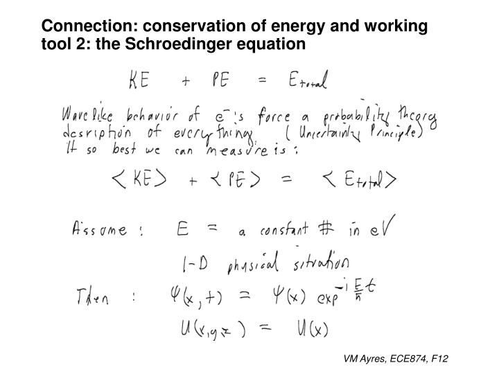 Connection: conservation of energy and working tool 2: the Schroedinger equation