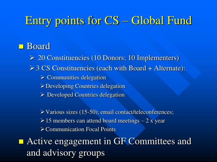 Entry points for CS – Global Fund