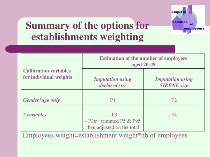 Summary of the options for establishments weighting